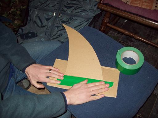 with bright green gaffer tape