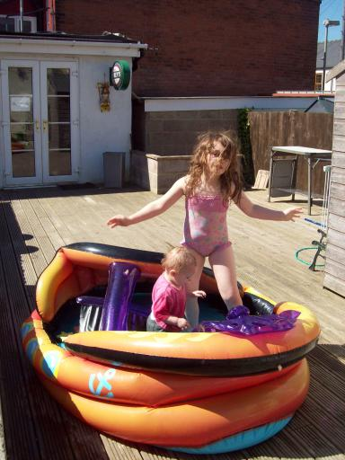 Jean and Mary in the Pirate Ship Pool