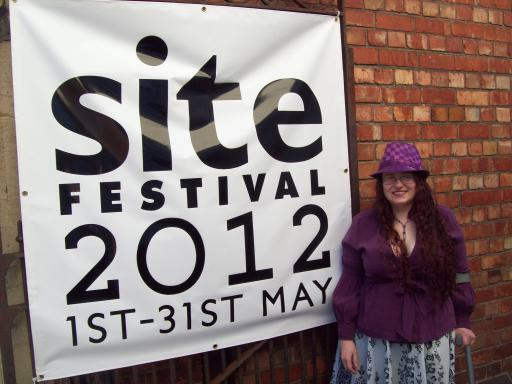 Saffy the Purple Poet at Stroud Site Festival Slam