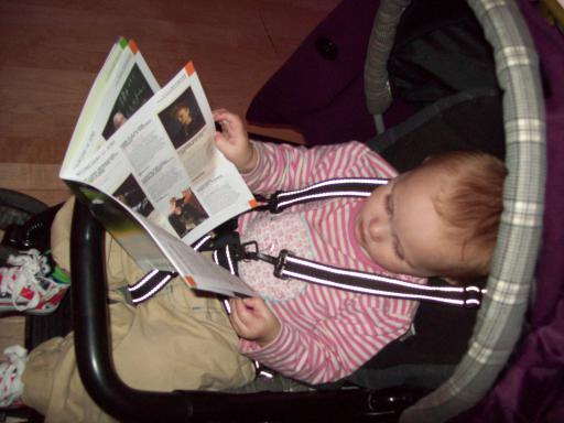 Baby reading at the Cheltenham Science Festival