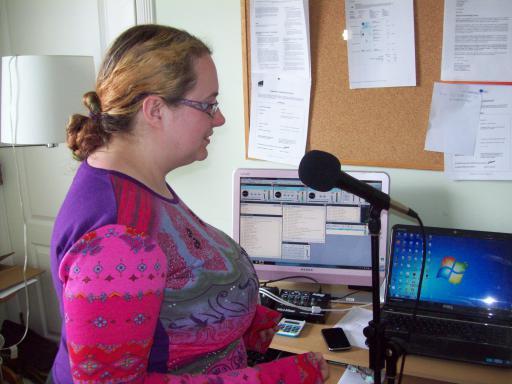 Saffy the Purple Poet recording Poetry at Cheltenham Community Radio