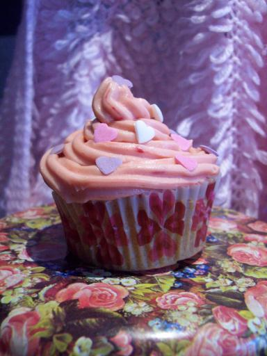 Pink Heart Cup Cake