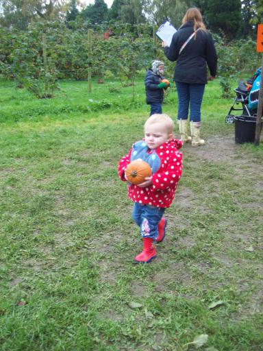 Mary taking part in the Pumpkin race