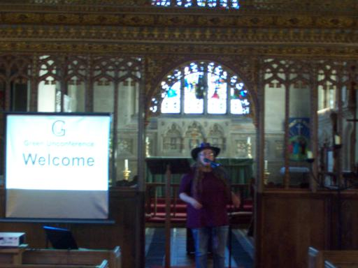 Sarah Snell-Pym explaining Ucycling and Junk Art at All Saints Church Long Ashton at the Green Unconference