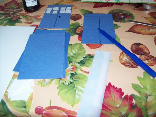 Bits for making a card tardis