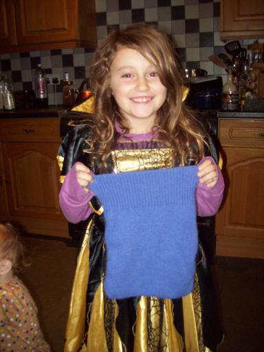 Jean and her trick or treat upcycled bag