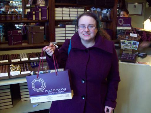 Sarah Snell-Pym in a Paul A. Young Chocolate Shop