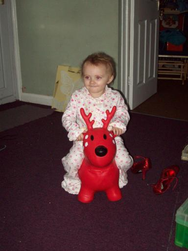 Mary and her Reindeer stealing Mummy's glittery shoes!