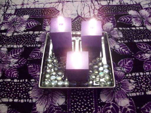 Purple Candles, purple table cloth