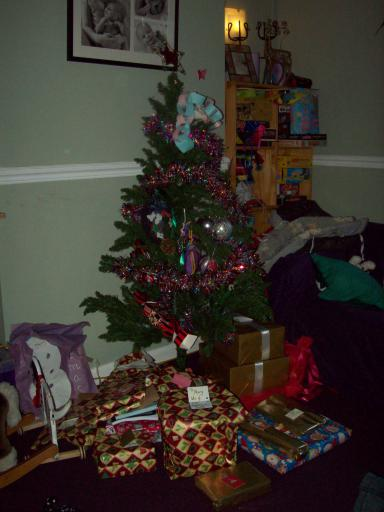 Tree, presents, kids not yet dawn