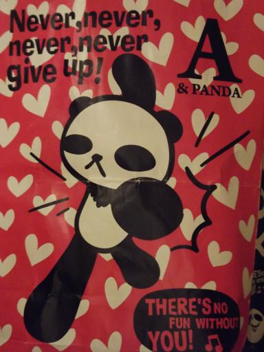 Never Give up Panda bag