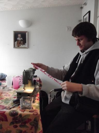 Alaric sewing at Creativi Tea