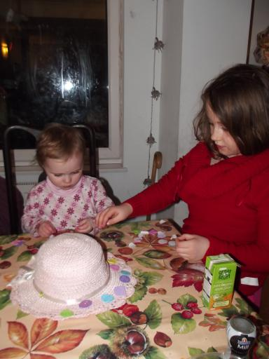 Jean helping Mary make her Easter Bonnet