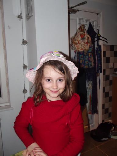 Jean wearing Mary's Easter Bonnet
