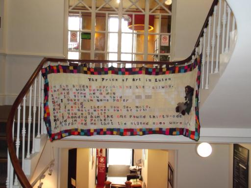 Knitted poem Cheltenham Poetry Festival