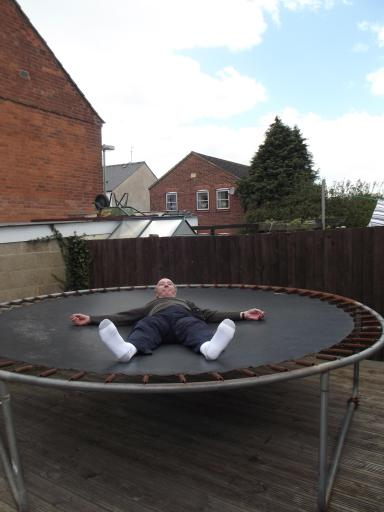 Leonard Pym on the trampoline