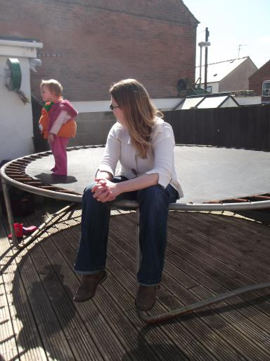 Helen and MAry on the trampoline