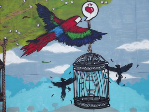 Birds and bird cage wall art at UWE