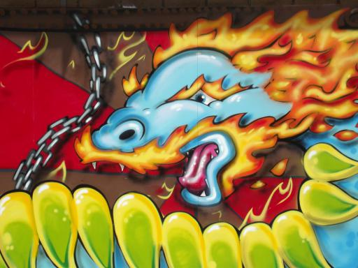 Flaming dragon wall art UWE