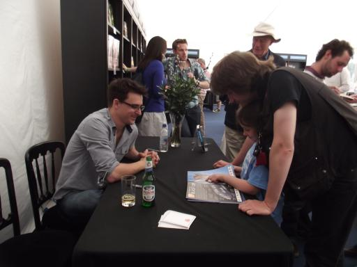 Jean getting her book signed by Lewis Dartnell