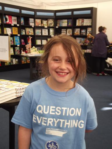 Jean in her Question everything tee