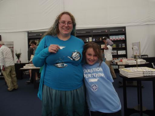 Mummy and Jean at the Cheltenham Science Festival in our t-shirts