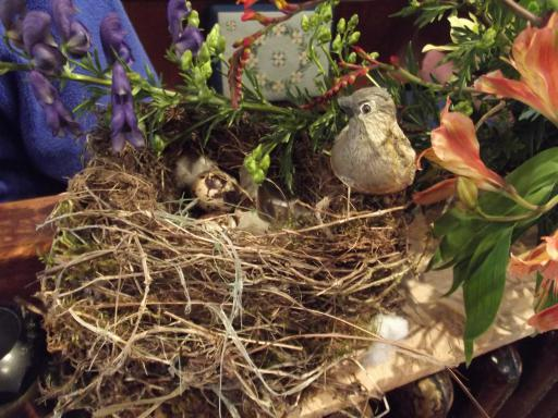 Birds nest flower display