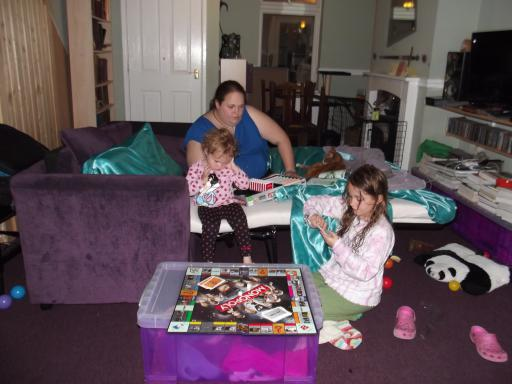 Girls playing Dr Who Monopoly