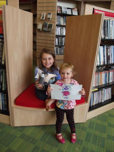 Jean and Mary with their bats at Hucclecote Library
