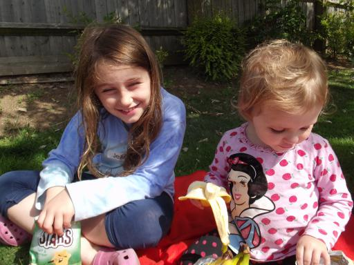 Sisters at a birthday picnic outside the library