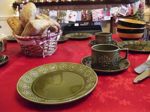 Green Crockery set for breakfast