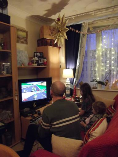 Mike and the Mario carts entertain the girls