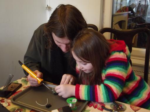 dad and daughter activity a soldering kit