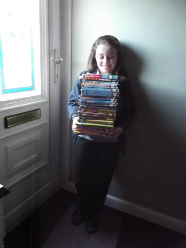 Jean and her tower of library books
