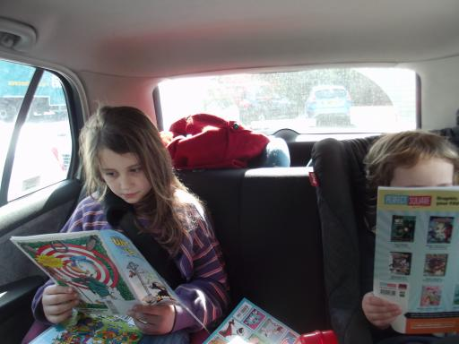 Jean and MAry enjoying their stash from Proud Lion for Free Comic Book Day