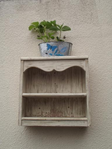 old shelving unit as planter