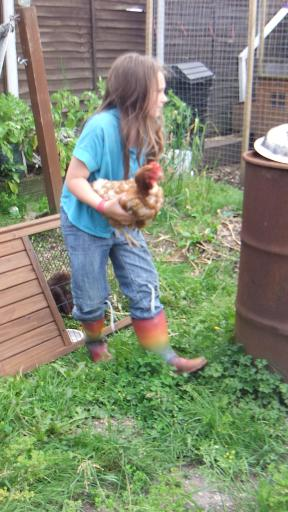 Jean and her chicken Lilly