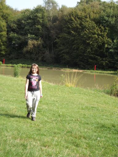 Jean walking around Thriftwood Lake