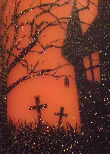 Sparkly orange halloween graveyard