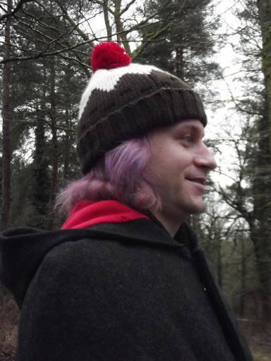 Pink hair, cloak and christmas pudding hat, Alaric's New Year walk in the Forest of Dean