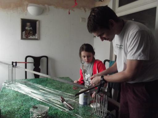 Alaric and Jean setting up the drying rack