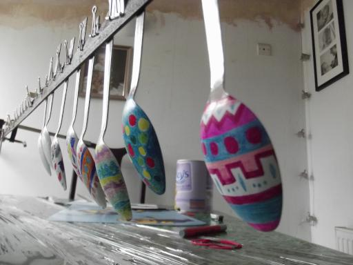 Decorated spoons drying