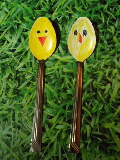 Easter Chick spoon garden ornaments