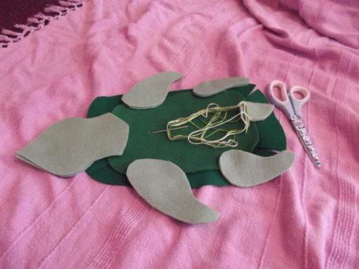sky turtle cut out and ready to sew