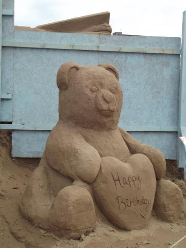 Heart Birthday Bear in sand