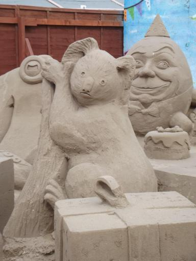 Koala and humpty in sand