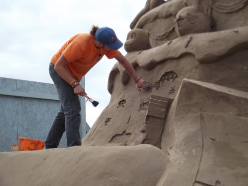Space invader sand castle building
