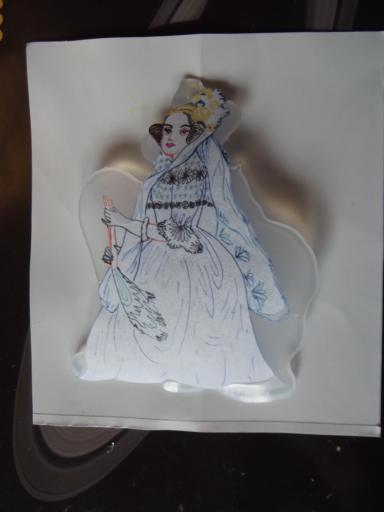 Ada Lovelace drawing embedded half in hot melt glue resin