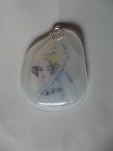 Ada Lovelace pendent made with hot melt glue and fine liner