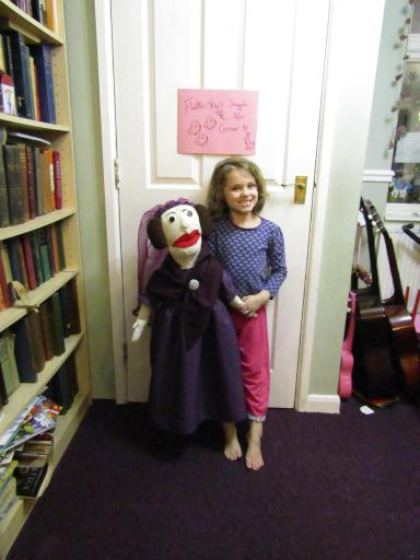 AdaLovelace the puppet getting ready for school show and tell
